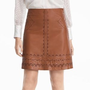 WHBM Laser Cut A-Line Brown Leather Skirt Size 0